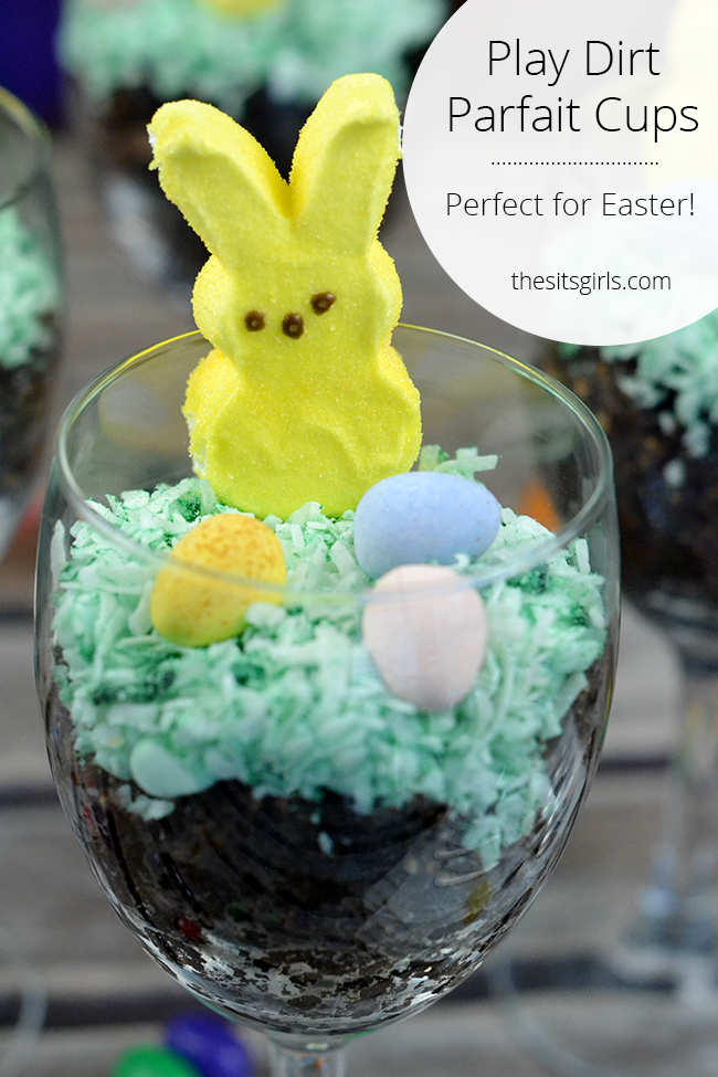 This is the perfect Easter dessert! Every Peep Easter Bunny needs a dirt cake parfait!