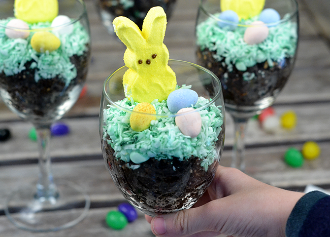 This parfait is perfect for a little Easter fun! Just add a peep and some Easter candy, and you are good to go!