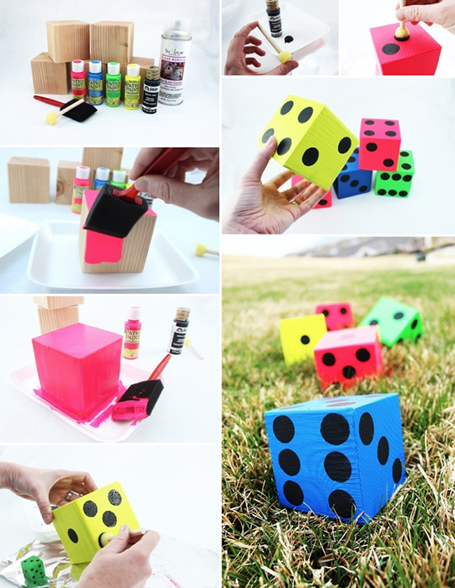 Step by step tutorial for making your own Lawn Yahtzee Dice for lots of outdoor fun this spring!