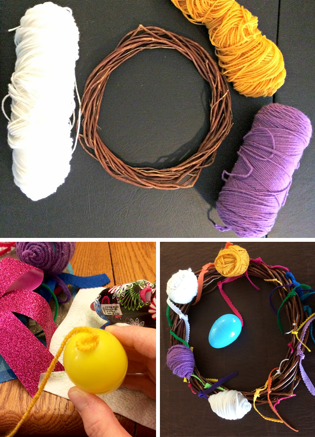 Step by step guide for making your own yarn-wrapped Easter egg wreath!