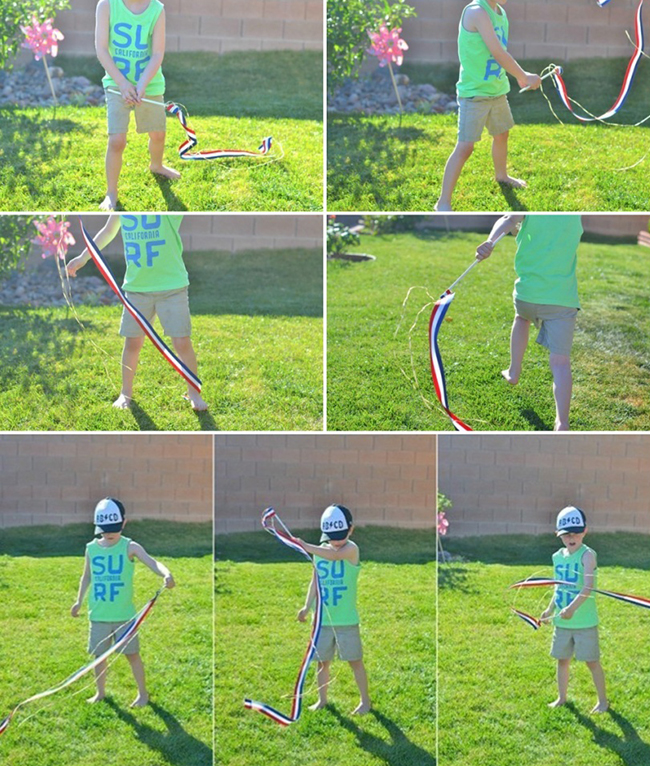 DIY Dancing Ribbon Wands are a great homemade toy for kids. A few simple ingredients will provide hours of outdoor fun!