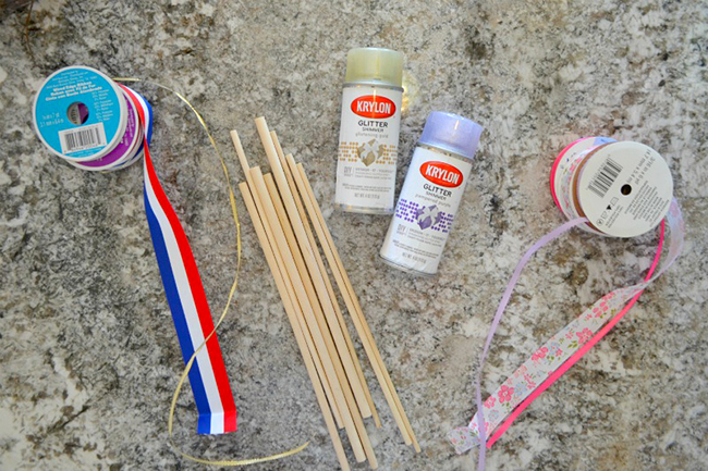 Everything you need to make your own dancing ribbon wands.