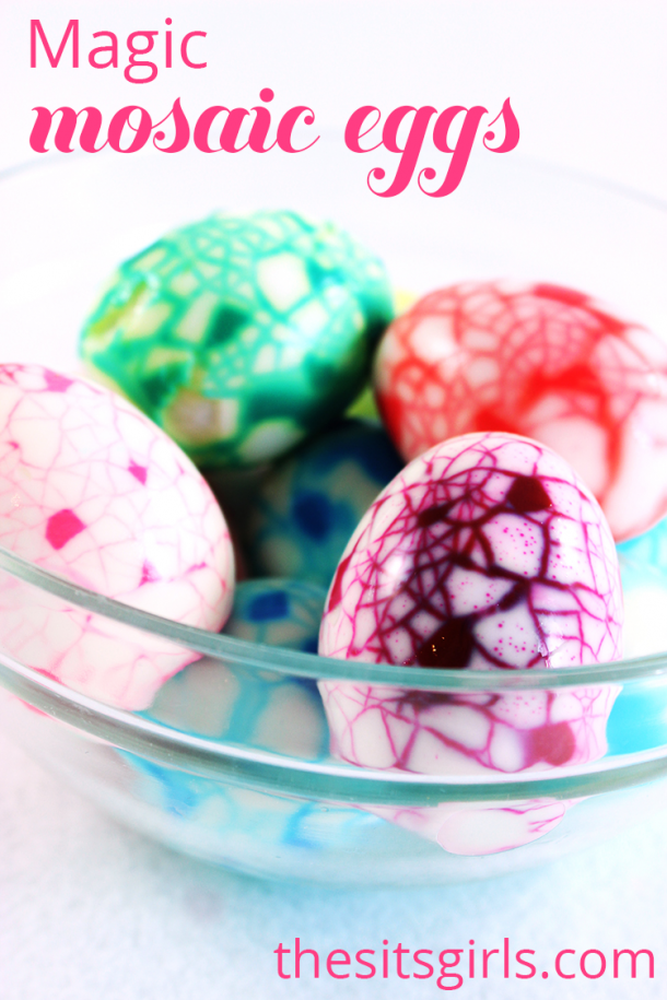 A great spin on dying easter eggs, Magic Mosaic Eggs are a fun easter craft.