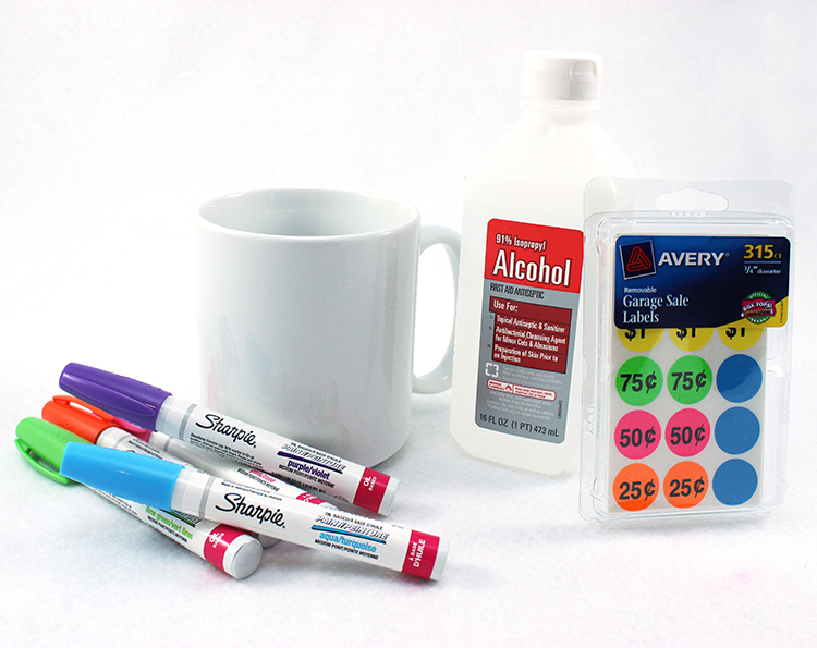 Supplies for a DIY Sharpie Mug that actually works!