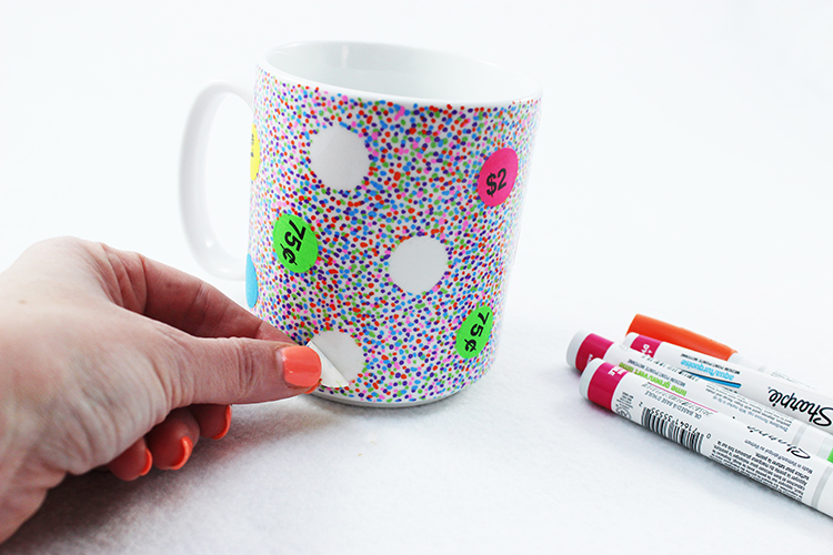 Peel the stickers off of your mug once the Sharpie dots are completely dry.