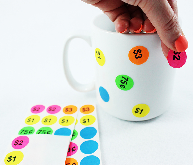 Place stickers all over your mug in a random pattern.