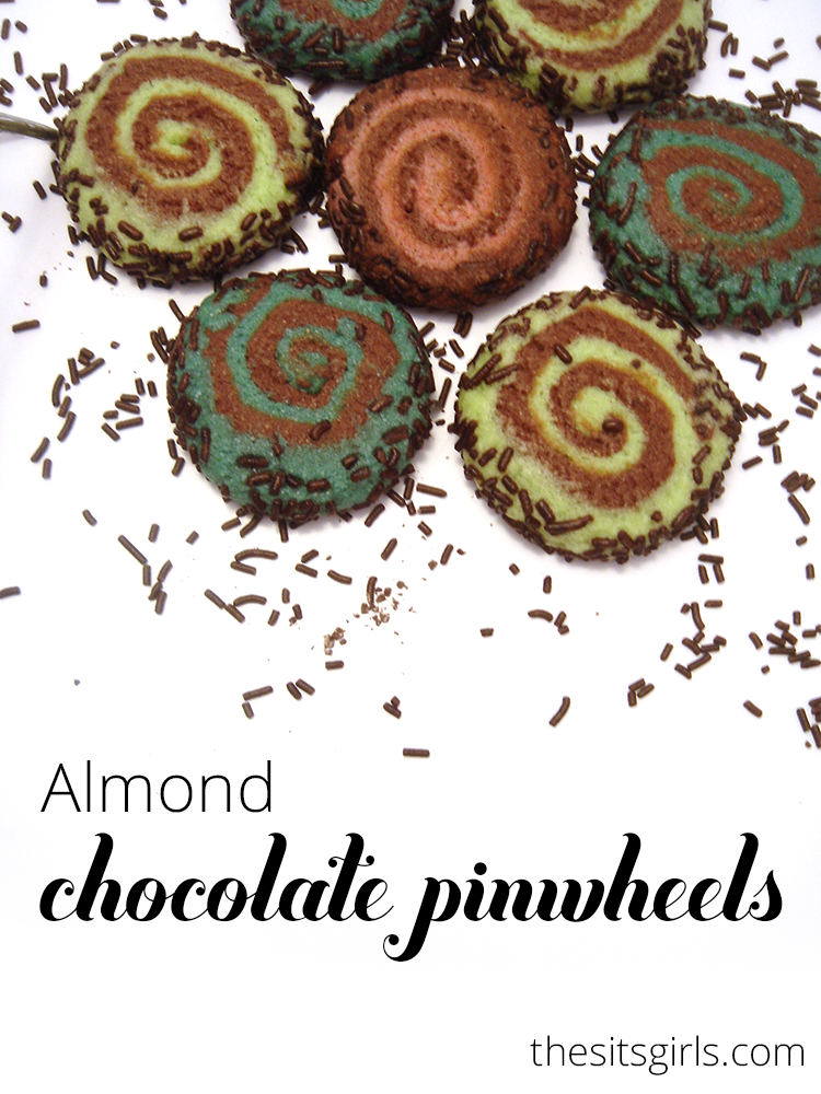 Almond Chocolate Pinwheel Cookies are festive and delicious.