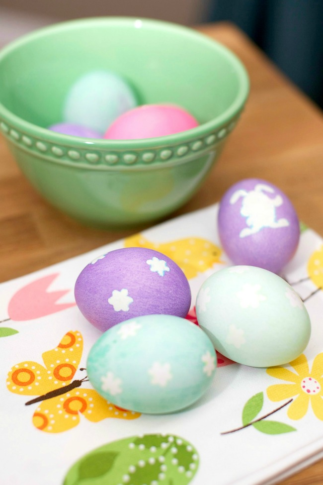 With just stickers and some gel dye, you can make beautiful designs on your Easter Eggs this year.
