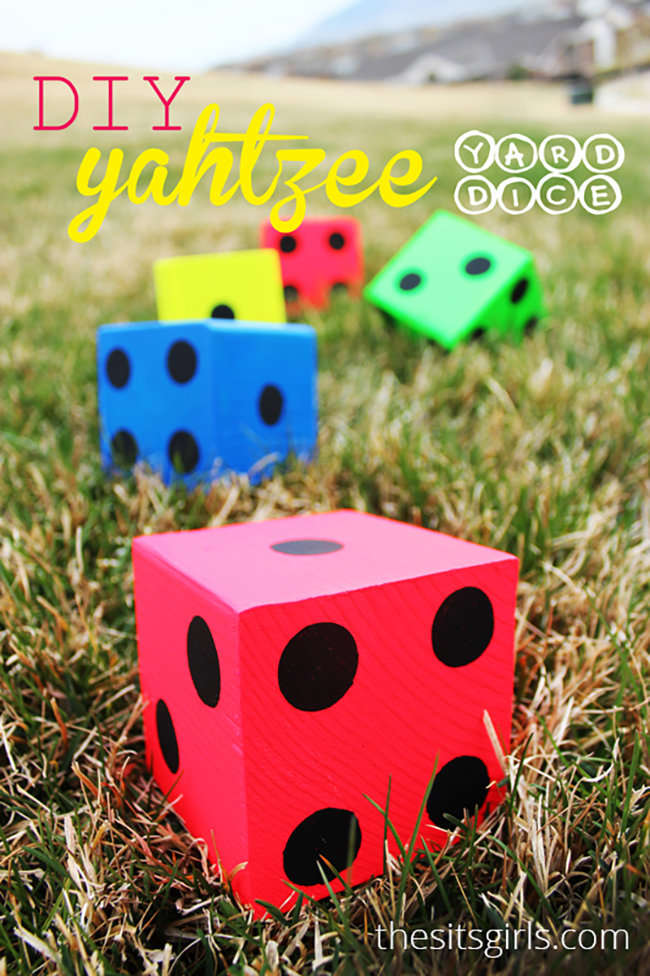 Make your own Lawn Yahtzee dice with this tutorial + a free, printable score card! You will be ready for outdoor fun with this easy DIY.