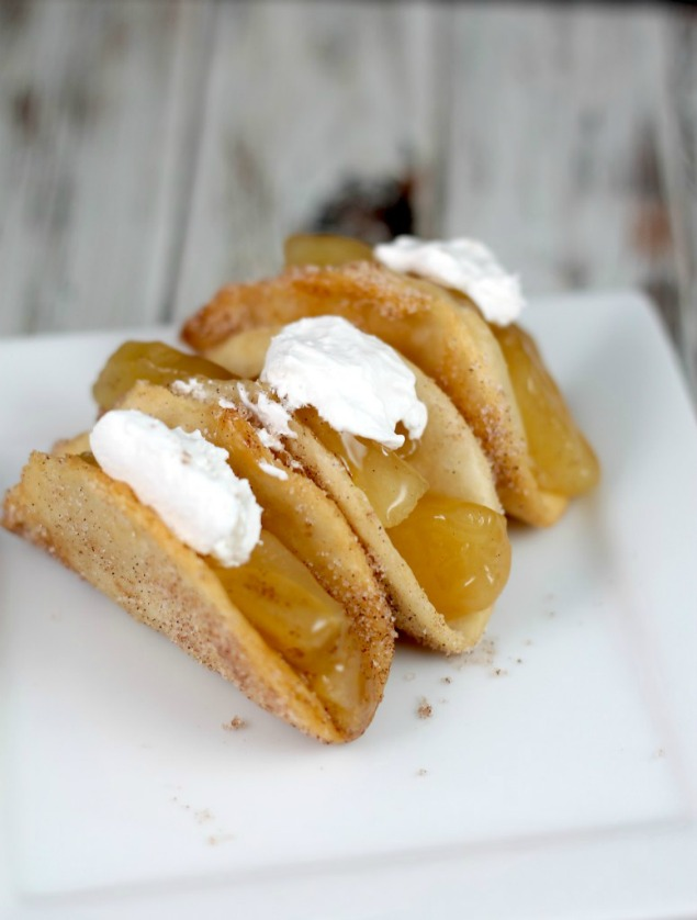 Apple pie tacos are a delicious, fried treat.