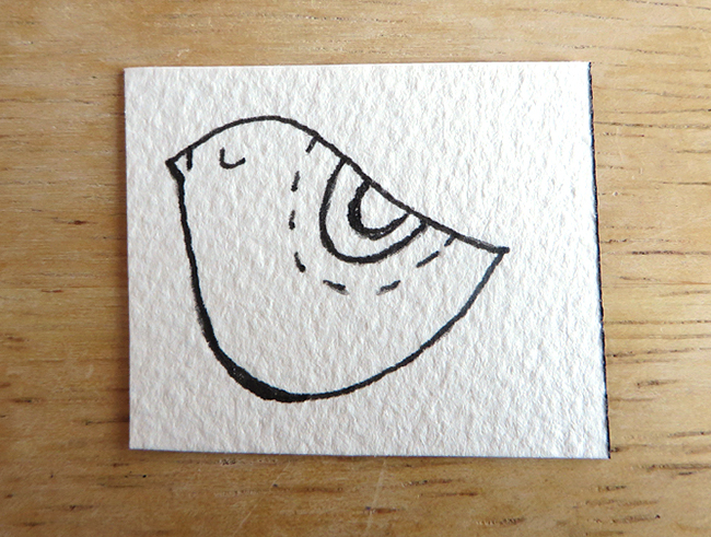 Little watercolor bird bookmark step 2 - darken the lines you want to highlight.