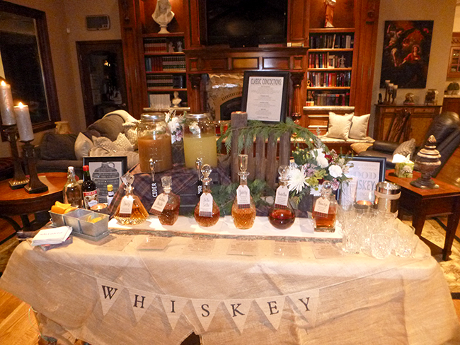 Whiskey bar - great idea for a bachelor party or man's birthday party.