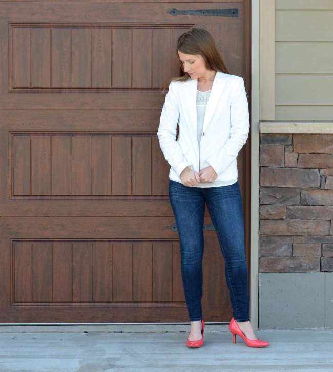 The white jacket is a wardrobe essential. I always have one in my closet or suitcase.