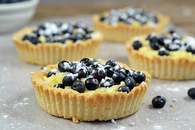 Blueberry Tartletts with an easy to make shortbread crust.
