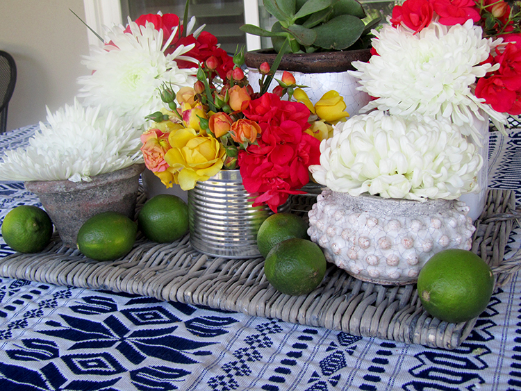 One of my favorite Cinco De Mayo party ideas is to use fresh flowers from the garden to decorate your tables.