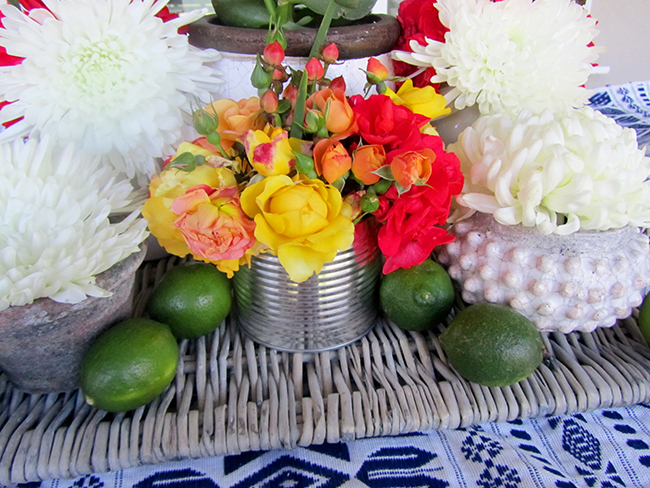 Clay pots make a great flower vase for your Cinco De Mayo party.