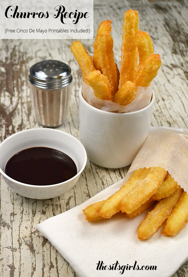 Looking for an easy churro recipe? Look no further. These churros are so YUMMY. Make them for your Cinco de Mayo party, and use our free printables to add to the fun.