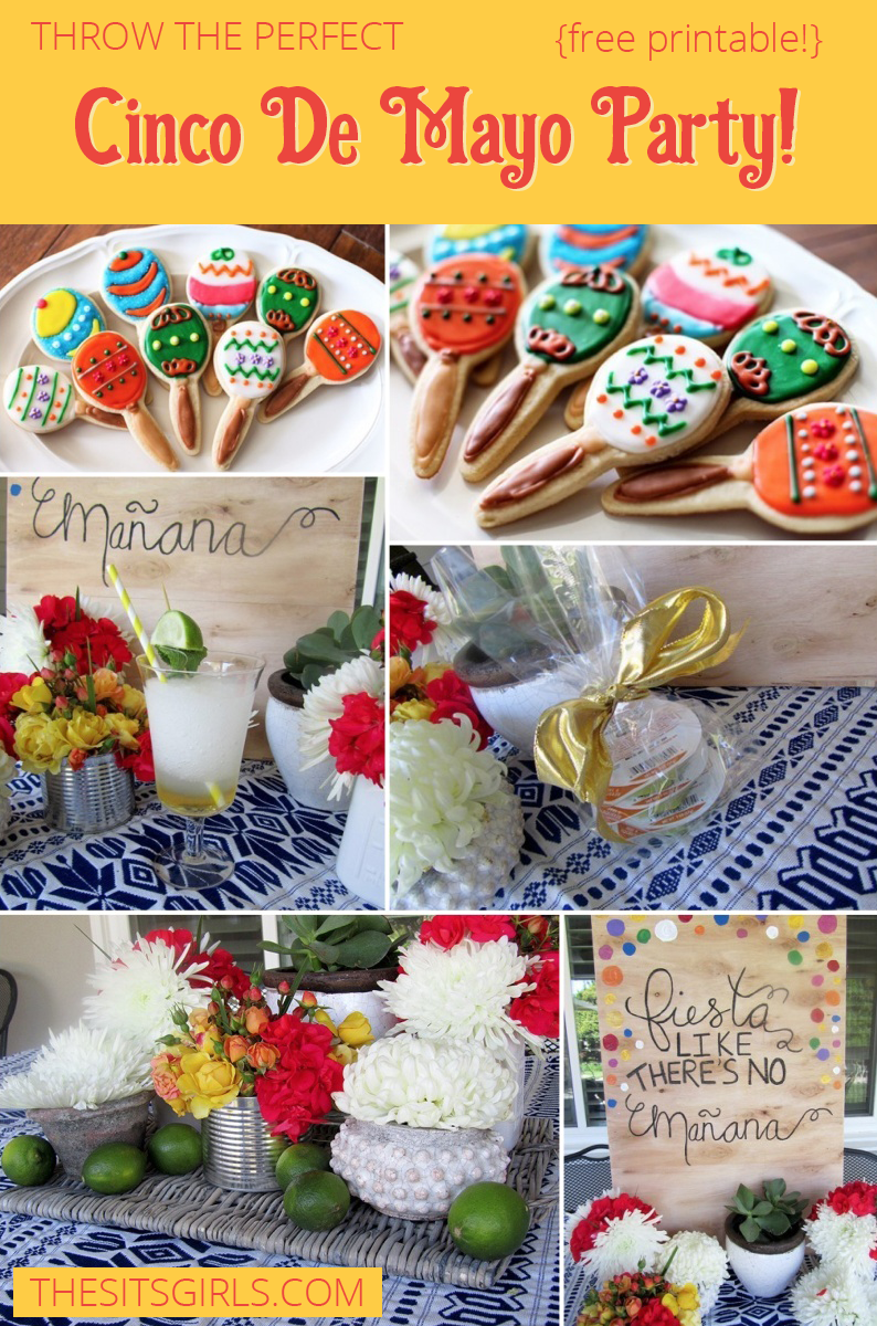Great Cinco De Mayo party ideas! Includes a killer Mint Margarita recipe, maraca cookie decorating tutorial, Mexican party decoration ideas, and free printables. Everything you need to throw a fabulous party.