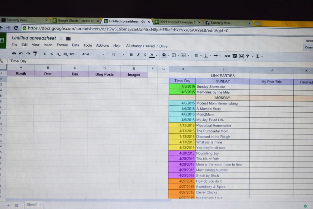 Blogging Calendar in Google Docs