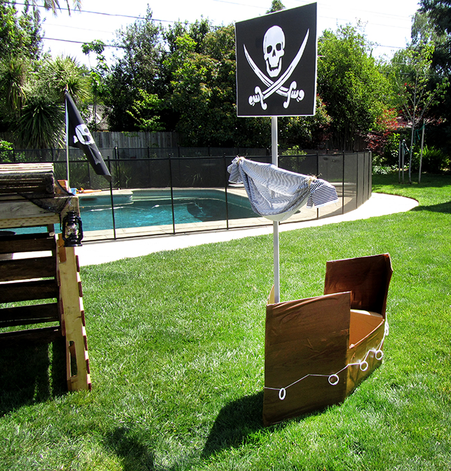 Homemade pirate ship - perfect for a kid's birthday pirate party.