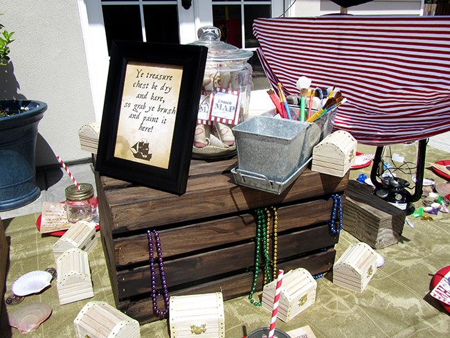 Paint Your Own Treasure Chest - great activity for a kid's pirate party!