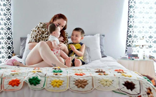 A mom and her kids living happily in a blended family.