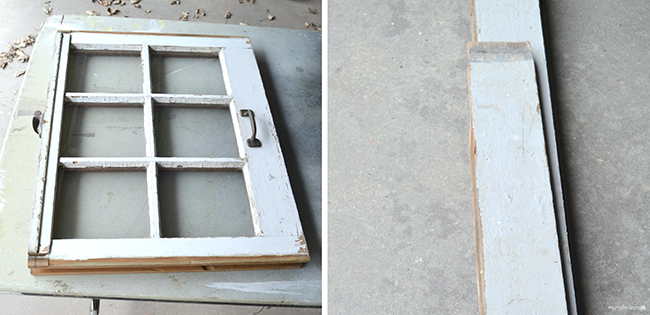 An old window and repurposed wood are the basis for this shabby chic cabinet.