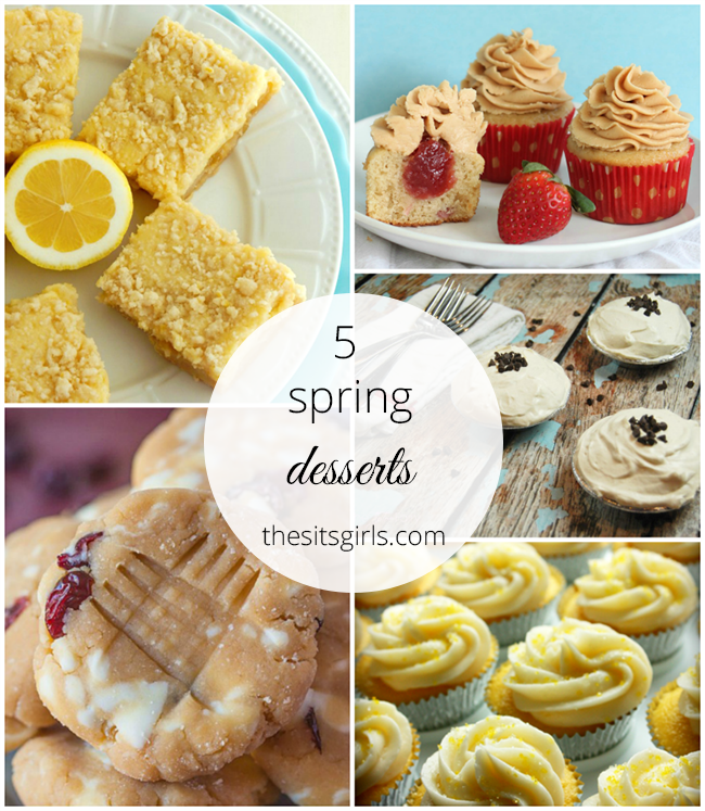 5 dessert recipes that look amazing - I want to try the peanut butter and jelly cupcakes first! Yum!