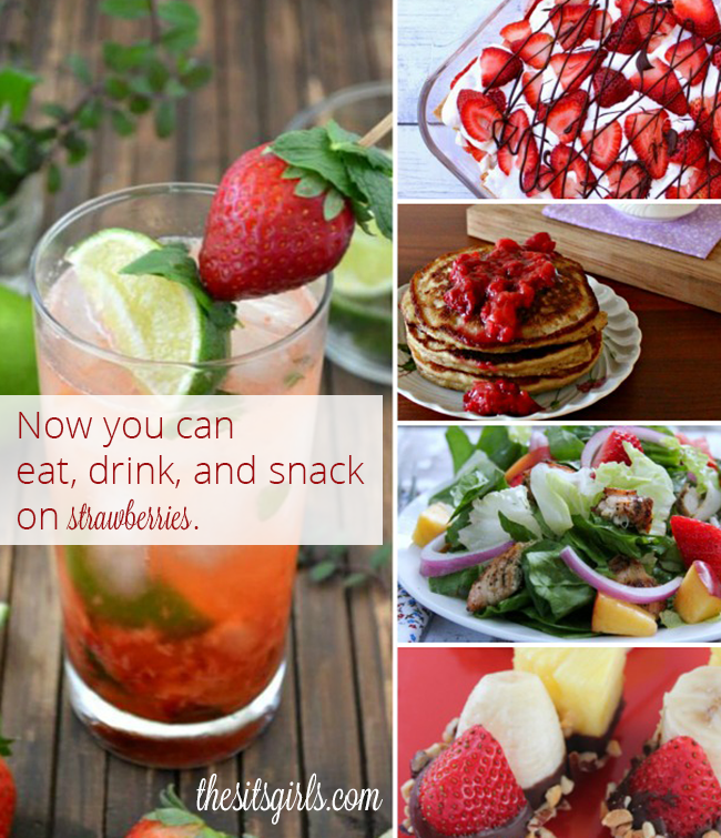Five amazing strawberry recipes! Have strawberries for breakfast, dinner, dessert, and even a drink. Great spring fruit recipes.