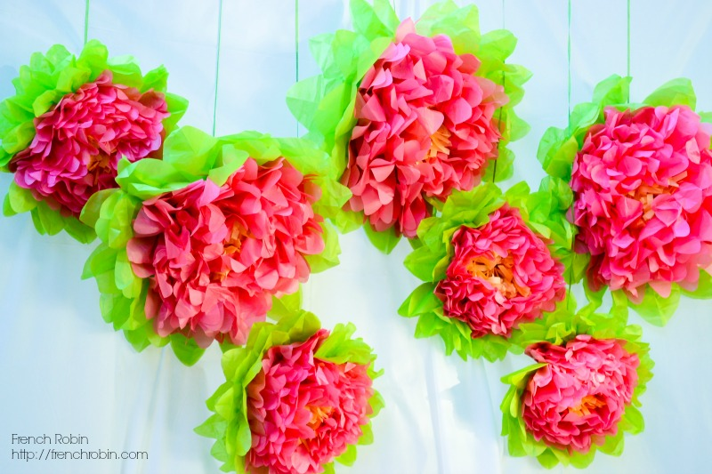 Paper pom poms make great photo backdrops when hung in front of a plain wall or sheet. Great DIY photo backdrop idea!
