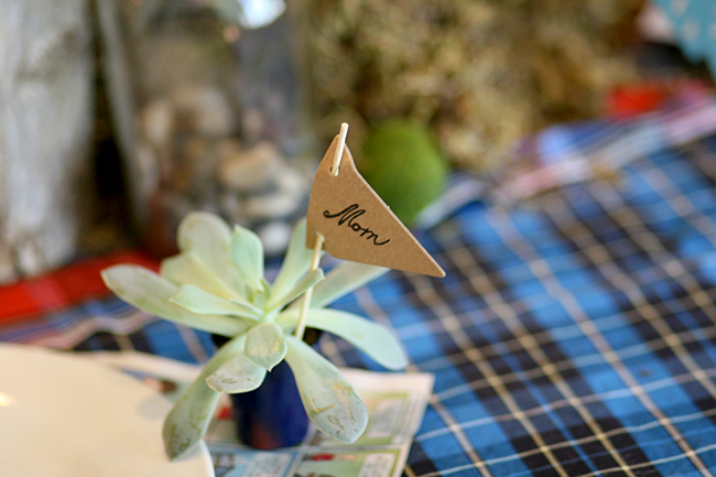 Succulents are perfect for creating place card holders.
