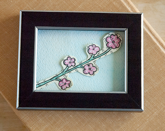 Book page art is a great use for miniature frames. It make a great gift.