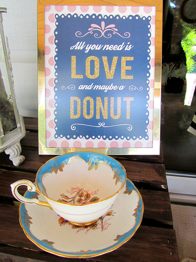 All you need is love and a donut! Love this cute sign for a bridal shower donut bar - get the free printable download here.