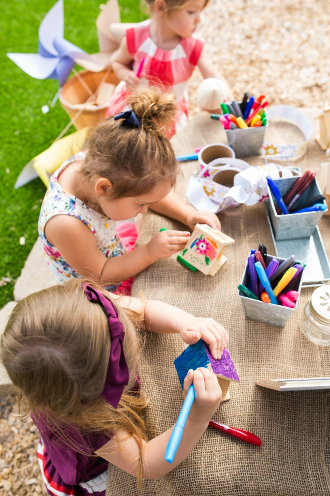 Birdhouse decorating is a great kids activity for a summer party!