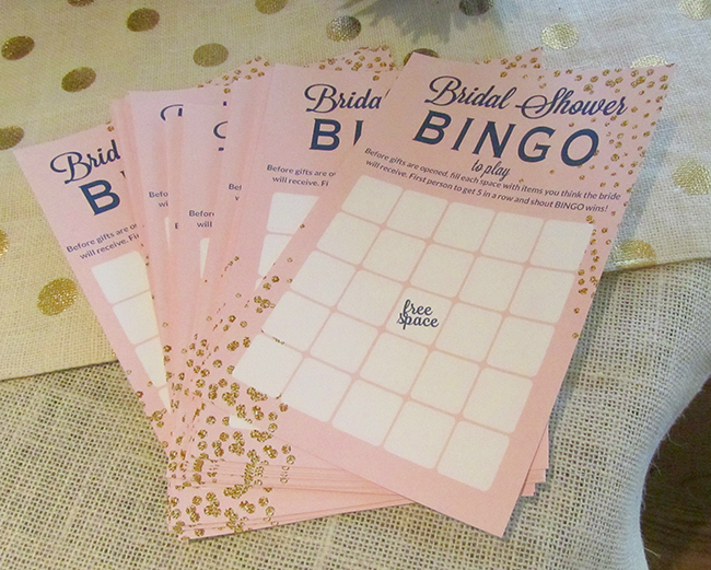 Bridal Shower Bingo is a fun shower game. The guests make guesses at what kind of gifts the bride will receive | wedding shower game ideas