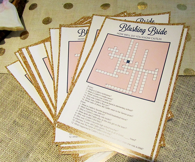 Bridal shower crossword - great idea for a shower game that can be personalized to fit the bride | wedding shower ideas