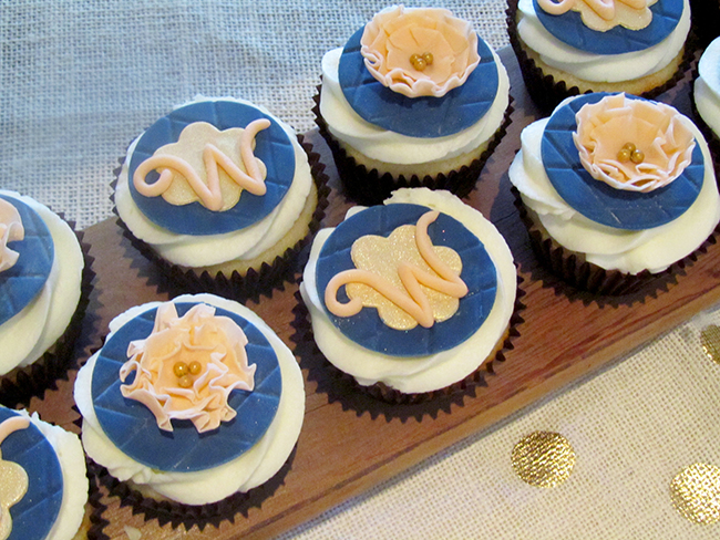 Monogrammed cupcakes are perfect for a bridal shower! Use the letter of your bride's new last name.