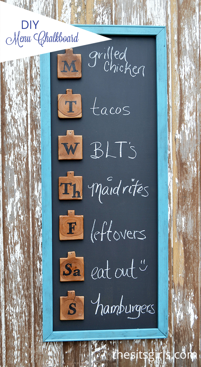 This cute menu board is an easy DIY project that will help you get organized for meal planning