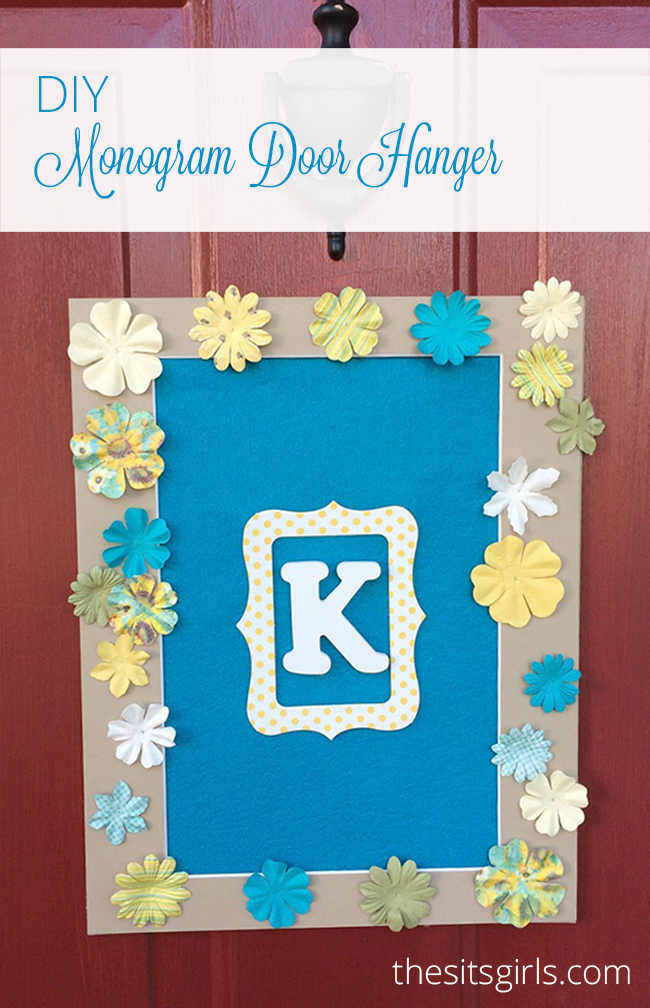 Add May flowers to your door with this cute DIY monogram door hanger. Super cute and easy craft you can do with your kids.