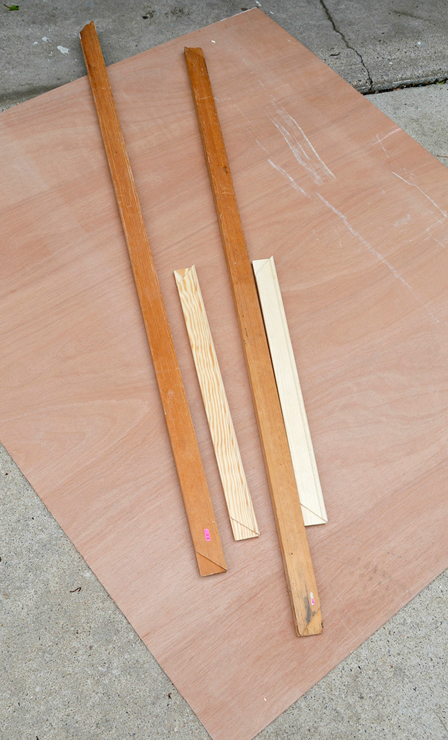 Measure your plywood and cut your frame to fit.