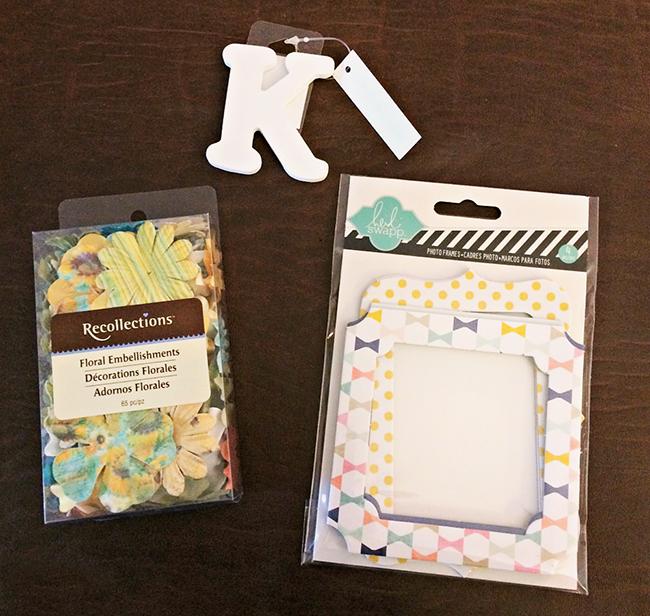 Supplies to make your own monogram door hanger.