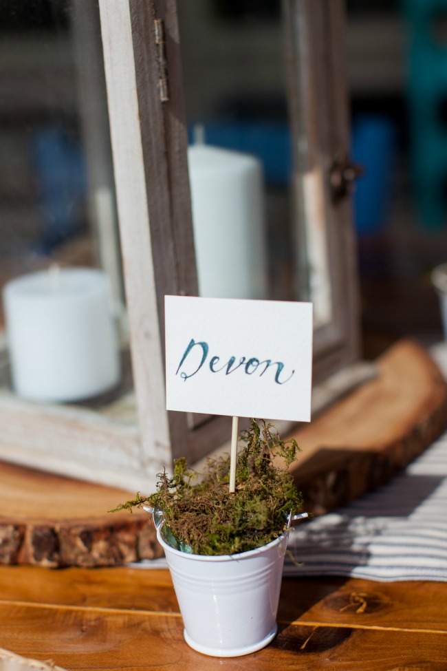 Love this idea for place card holders. The little white buckets can be found at the dollar store. This is a great DIY project for a party to save some money.