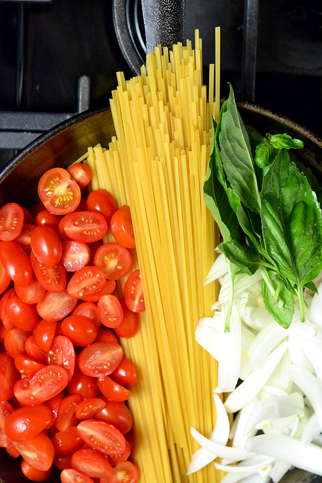 One Pot Pasta is the perfect quick and easy summer pasta recipe. You can easily adjust this recipe to include your favorite veggies.