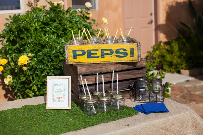 An Old Pepsi Crate Makes A Great Cup Holder For Backyard Party Drink Table