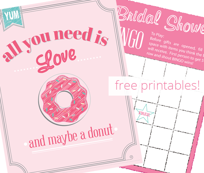 Free Printables | Bridal Bingo printable for your next bridal shower and a cute printable sign for your donut bar. Plus great tips for throwing a donut bar themed party. | Free download printables for wedding shower.