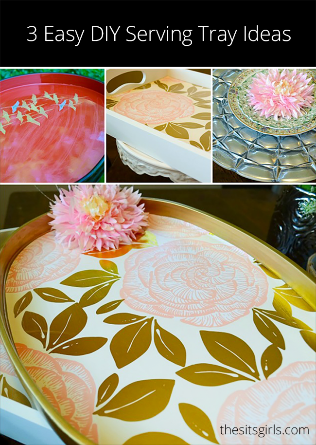Easy DIY tutorial for creating three beautiful serving trays. With a little paint, some old wrapping paper, and mod podge, you can have a beautiful new serving tray! These are great to use for parties or other get togethers. Home decor.