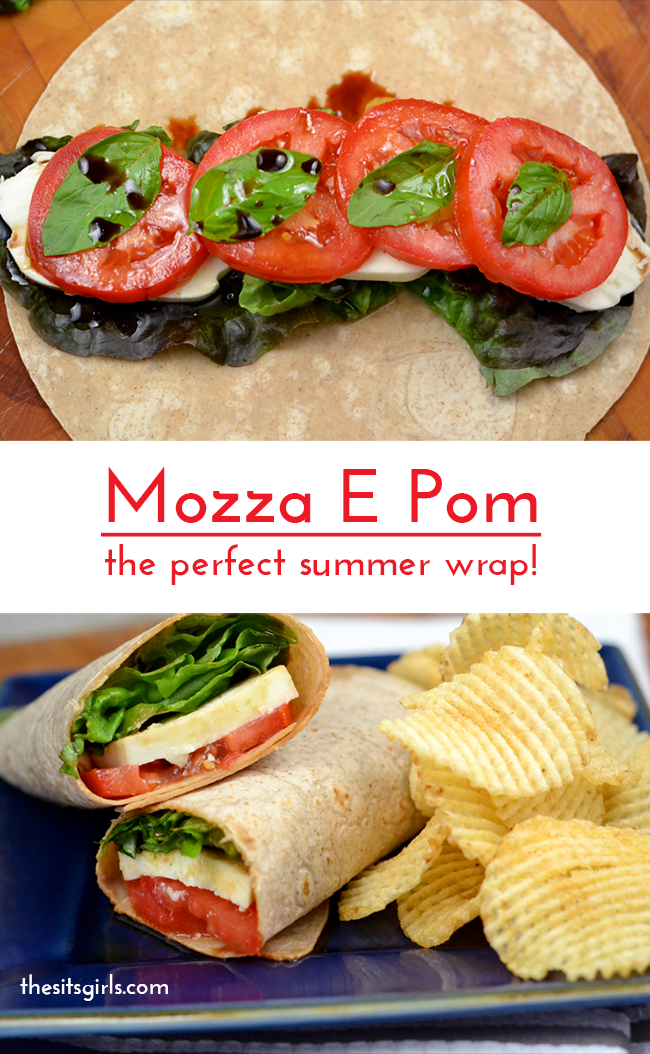 The perfect summer wrap recipe! You are going to love this mozza e pom wrap as much as I do!  It makes a great last minute lunch.