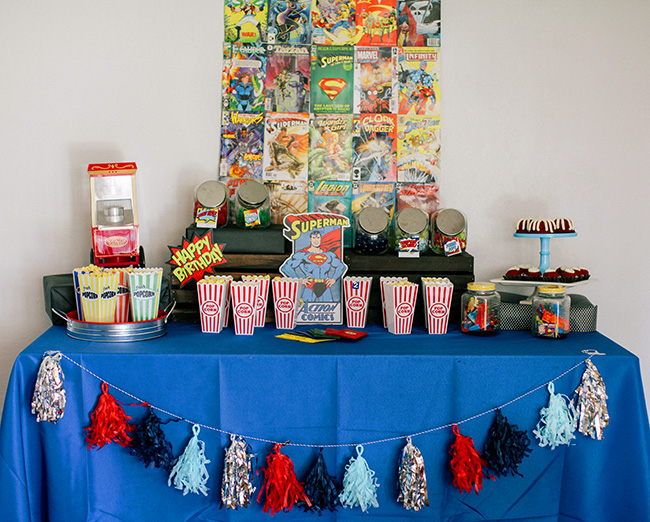 Super Hero Party food table ideas.