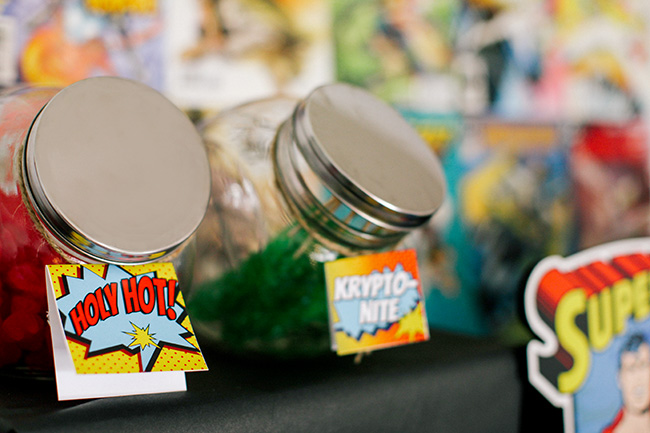 With the right sign, any candy can have a super hero theme for a candy bar at your super hero birthday party!