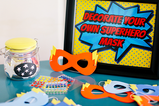 Decorate your own super hero mask! Great superhero party idea. Perfect for a kid's birthday party.